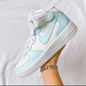 ⚡️Custom Nike Air Force 1 Mids (Baby Blue)⚡️